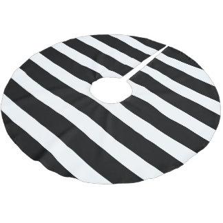 Black and White Preppy Stripes Brushed Polyester Tree Skirt