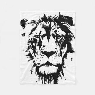 black and white print lion fleece blanket