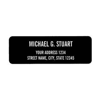 Black and White Professional Bold Text Return Address Label
