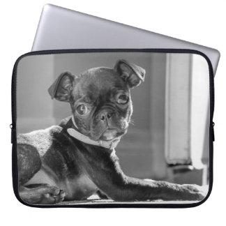 Black and White Pug Bullie Art Print Laptop Sleeve