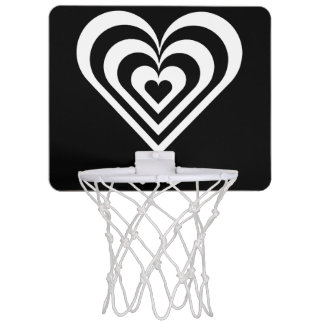 black and white pulsating zebra heart love mini basketball hoop