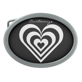 black and white pulsating zebra heart Thunder_Cove Belt Buckles