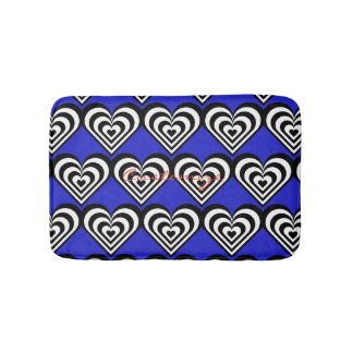 black and white pulsating zebra hearts love bath mat