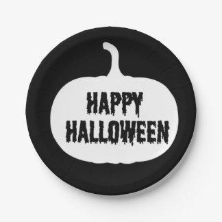 Black And White Pumpkin Happy Halloween Paper Plate