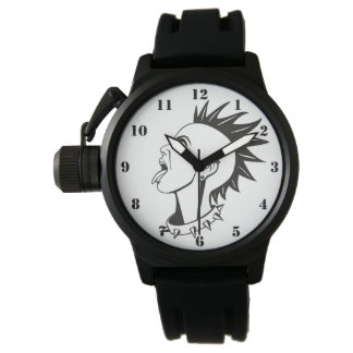 BLACK AND WHITE PUNK FEMALE WATCH