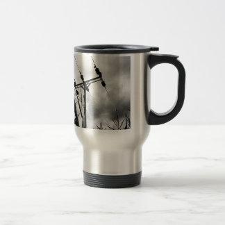 Black and white pylon travel mug