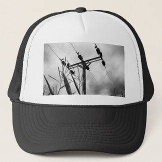Black and white pylon trucker hat