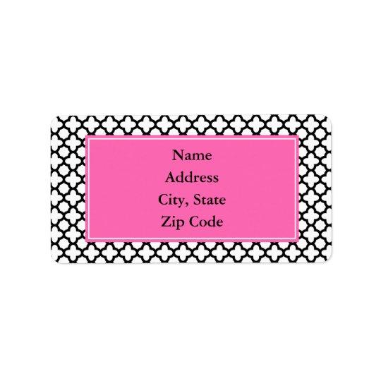 Black and White Quatrefoil Address Label