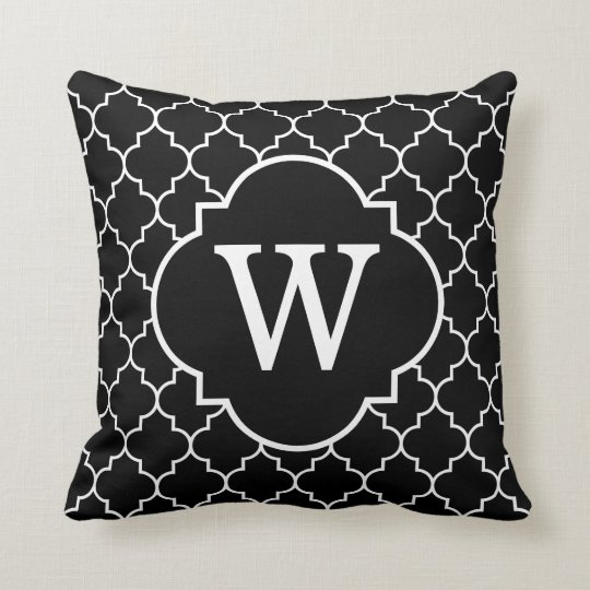 Black And White Quatrefoil Monogram Cushion