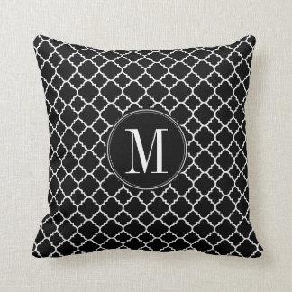 Black and White Quatrefoil Pattern Custom Monogram Cushion
