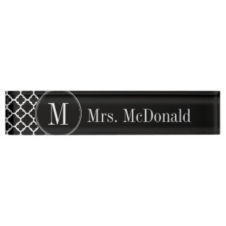 Black and White Quatrefoil Pattern Custom Monogram Nameplate