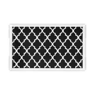 Black and White Quatrefoil Tiles Pattern Acrylic Tray