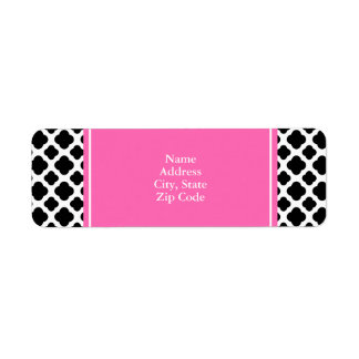 Black and White Quatrefoil with Hot Pink Return Address Label