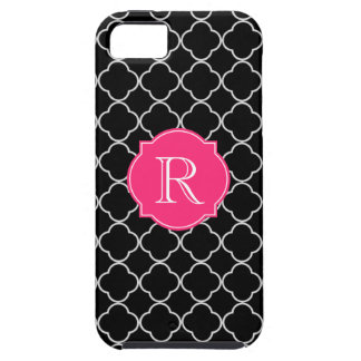 Black and White Quatrefoil with Monogram iPhone 5 Covers