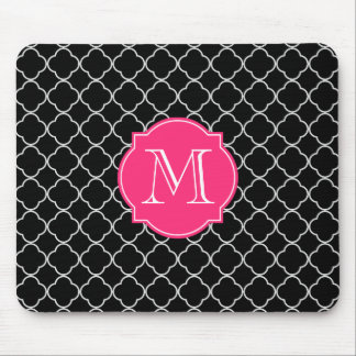 Black and White Quatrefoil with Monogram Mouse Mat