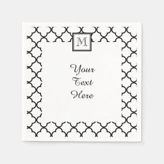Black and White Quatrefoil, Your Monogram Disposable Serviettes