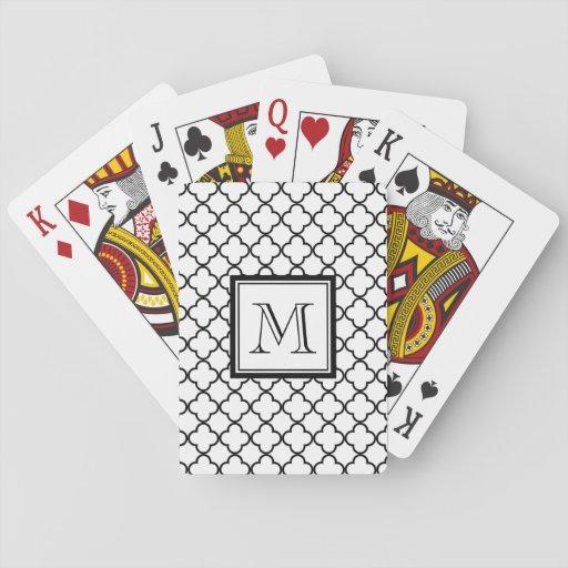 Black and White Quatrefoil, Your Monogram Poker Deck