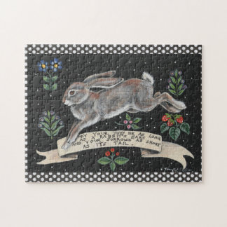 Black and White Rabbit Floral Inspirational Puzzle