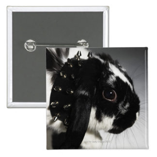 Black and white rabbit with studded collar 15 cm square badge
