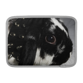 Black and white rabbit with studded collar sleeve for MacBook air
