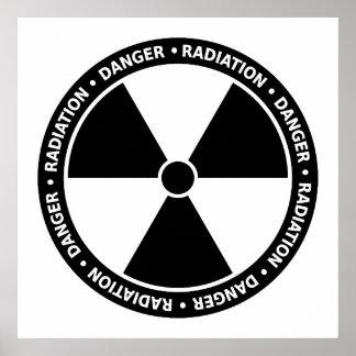 Black and White Radiation Symbol Poster