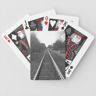 Black and white railroad track bicycle playing cards