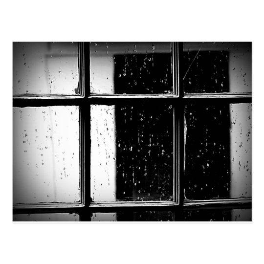 Black and White Rain on Window Postcard