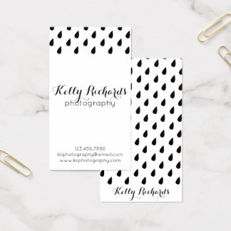 Black and White Rain Water Drops Business Cards