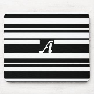 Black and White Random Stripes Monogram Mousepad