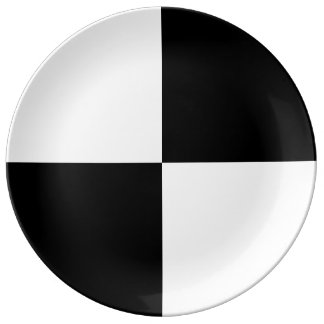 Black and White Rectangles Plate