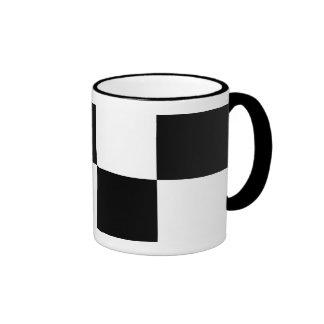 Black and White Rectangles Ringer Mug