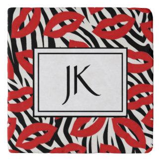 Black and White Red Lips Zebra Striped Coaster