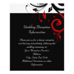 Black and White Red Reverse Swirl Reception Flyer