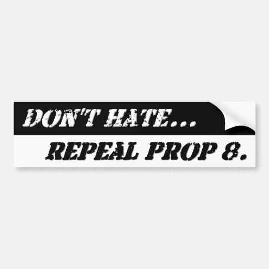 Black and White Repeal 8 Bumper Sticker