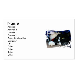 Black and White resigned cat santa hat blue tinsel Pack Of Standard Business Cards