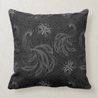 Black and white retro butterflies and peacock throw pillow