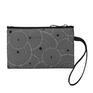 Black and White Retro Circles Pattern Coin Purses