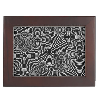 Black and White Retro Circles Pattern Keepsake Box