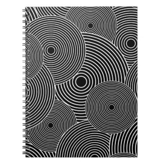 Black and White Retro Circles Pattern Notebooks