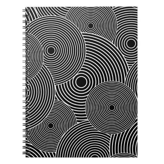 Black and White Retro Circles Pattern Notebooks