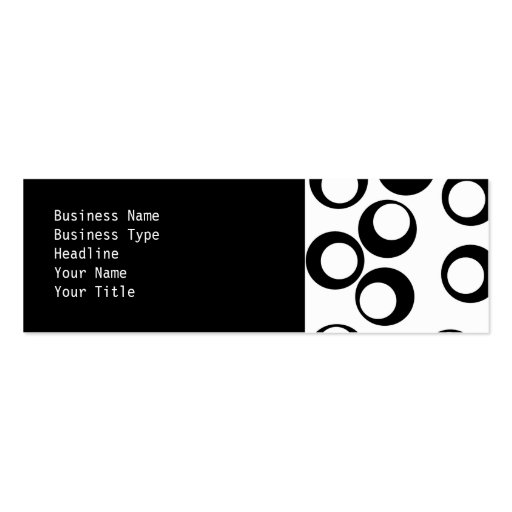 Black and White Retro Circles Pattern. Pack Of Skinny Business Cards