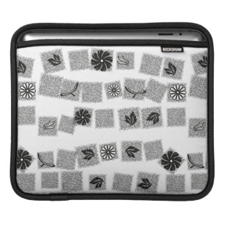 Black and White Retro Flowers Sleeves For iPads