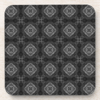 Black and White Retro Fractal Pattern Coasters