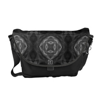 Black and White Retro Fractal Pattern Courier Bag