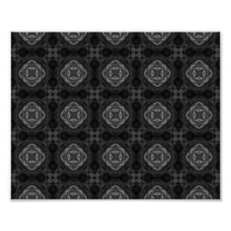 Black and White Retro Fractal Pattern Posters