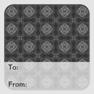 Black and White Retro Fractal Pattern Square Stickers