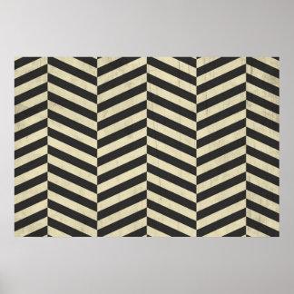 Black and White Retro Stripes Pattern Poster