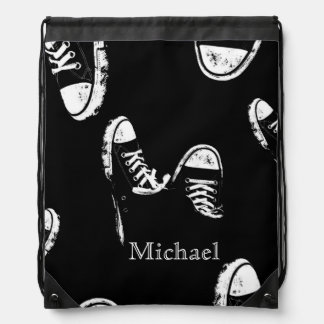 Black and White Retro Style Sneaker Shoes Bookbag Drawstring Bag