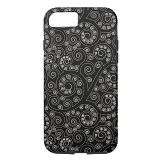 Black And White Retro Swirls And Circles Pattern iPhone 7 Case