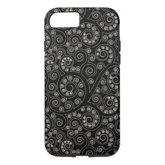 Black And White Retro Swirls And Circles Pattern iPhone 7 Case